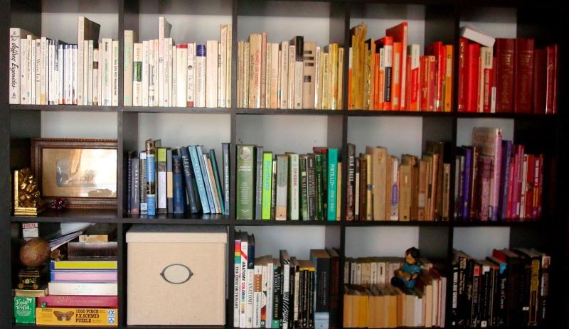 Paper Migration: color-coded bookshelves 2013